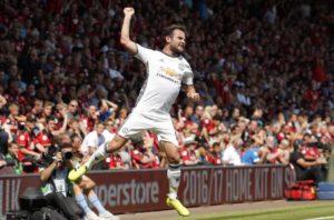 Juan Mata celebrates scoring United first goal