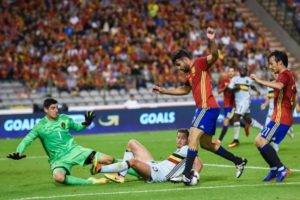 Diego Costa in action forSSpain against Belgium