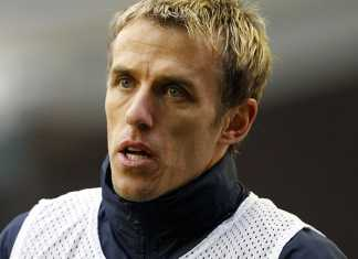 Phil Neville reacts to thibaut courtois